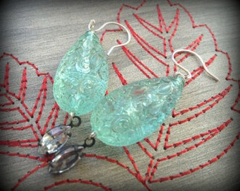 Seafoam Spring Dreams Lucite and Crystal Earrings