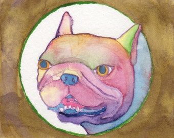 Colorful French Bulldog Art Painting, French Bulldog Decor Gift, Tiny Art, Dog Lover Gift, Funny Animal Art, Quirky Home Decor,Whimsical Art