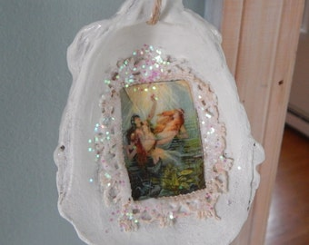 50% off Oyster Shell Ornament/mermaid/holiday/wedding/summer