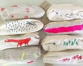 Pencil Case, hand-printed linen
