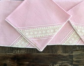 "Pink napkins set of 5 - 12"" x 12.5"" lace inset vintage/retro shabby/cottage chic"