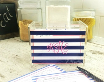 Personalized Recipe Box - Stripes Recipe Box - Custom Recipe Box - Acrylic Recipe Box - Monogrammed Recipe Box - Recipe Storage Box