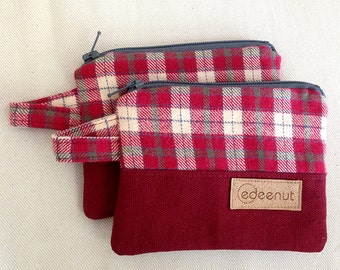 Red Flannel zip pouch, gift card holder, zipper pouch, coin purse, thin wallet, Plaid flannel bag, canvas coin pouch, earbud case boy mini