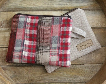 Brown Red Wine Flannel Plaid wallet, gift card zipper pouch. coin purse. Ready To Ship, minimalist wristlet wallet Autumn accessory, maroon