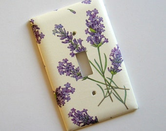 Lavender Graphic Single Switch Plate - switch cover, wall plate, paper, purple, botanical, home décor, natural, Nature inspired, modern
