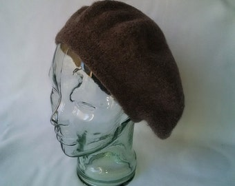 Wool felted tam, heather dark taupe felted wool Scottish bonnet