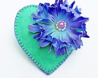 Felt Brooch - Cornflower Blue - Pretty Heart - Accessory - Pin - Love - Gift Idea