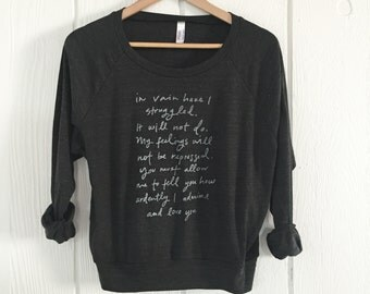 OVERSTOCK SALE - size LARGE- Mr. Darcy Proposal - Pride and Prejudice - slouchy screen printed sweatshirt - Jane Austen