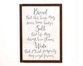 Made to order BREAD Salt + Wine Irish Blessing New Home Housewarming Gift | 13x18 inch painted wood sign | Gallery Wall Its a wonderful life