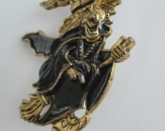Black With Gold 1995 BG Vintage Witch On A Broom Brooch/pin