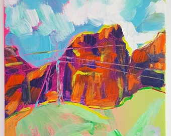Power Lines from Lake Mead Acrylic Painting