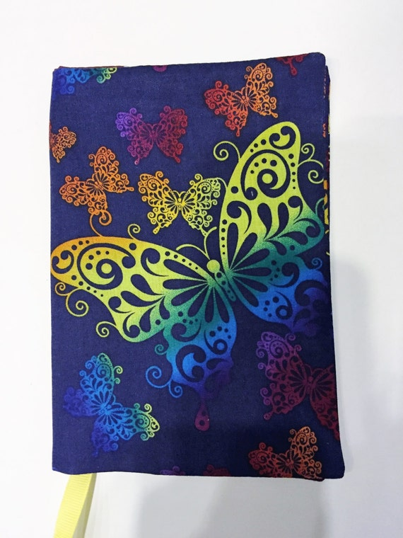 Cloth Book Covers For Textbooks ~ Fabric book cover butterfly hardback