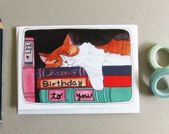 Birthday Card - Cat Birthday Card - Blank Birthday Card - Books and Cats - Blank Cat Birthday Card - Illustrated Card - Birthday Cat