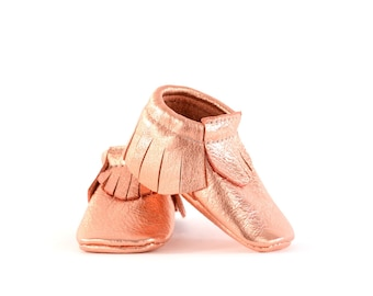Baby Moccasins- Copper Leather