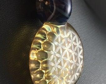 Boro Glass Pendant Bead Fume Gold 3D Impression Flower of Life Geometric  --Dan Rushin