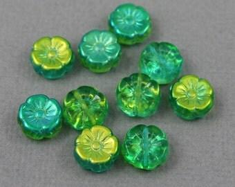 random mix of Green Czech glass flower beads with metallic green finish - 12mm - 10 pcs - FB226