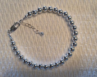 Sterling SIlver Ball  Bracelet The Classic Adjustable
