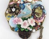 Half Off Sale Hand Mirror - Repurposed Jewelry - Garden Blue Jay - M001044