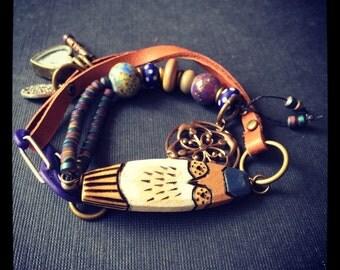 Wooden Owl Wrap Bracelet