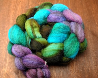 Mixed BFL Hand Dyed Roving Spinning Fiber -- Katatomic -- IN STOCK