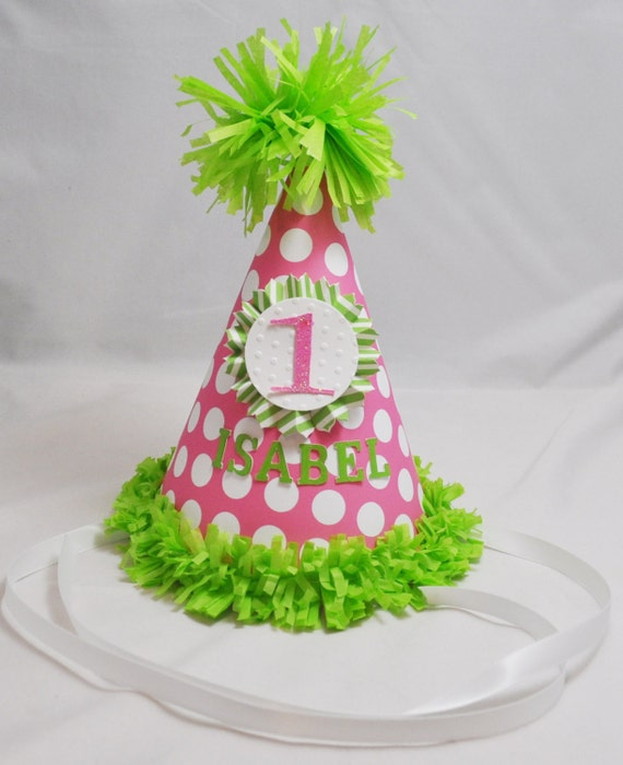 1st Birthday Party Hat Girl- Personalized