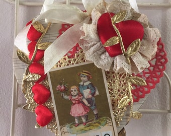Vintage Valentine candy box hanging decoration