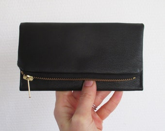Black Leather iPhone wallet, recycled eco smartphone clutch
