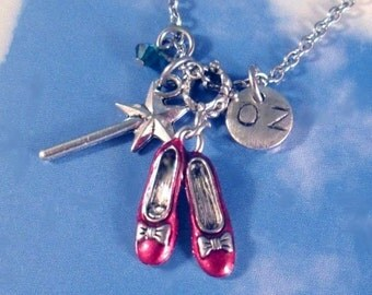 Wizard of Oz Charm Necklace Ruby Slippers magic Wand Swarovski Crystal + Initial Personalized Necklace Jewelry Steel or Sterling Chain