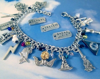 Wizard & Witches Charm Bracelet Personalized Jewelry School of Wizardry Magic Wand Snitch Owl Dragon Hallows Steel or Sterling Chain
