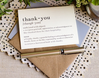 Dictionary Thank You Notes set of 5 Story Book Wedding in Black and Gray