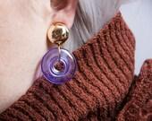 kentucky moon clear purple hoop earrings / dangle earrings / 777a