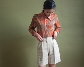 70s semi sheer print shirt / oversized collar button up blouse / print dress shirt / s / 1309t