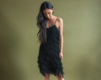 black fringe mini dress / lbd little black dress / flapper 80s rhinestone party dress / s / 1910d