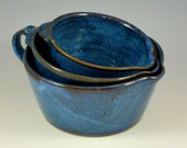 Set of Three Cobalt Blue Nesting Batter Bowls with Handles Stoneware Pottery