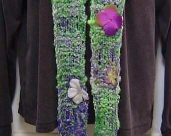 Pansies Hand Knit Scarf - Alpaca, Merino, Silk and Bamboo