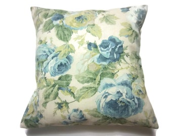 Decorative Pillow Cover Vintage Look Floral Shades of Blue and Green Taupe Cream Same Fabric Front/Back Toss Throw Accent 18x18 inch x
