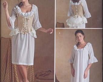 Simplicity 8162 Misses 18th Century Outlander Costume Undergarments Chemise Corset Bum Pad UNCUT Sewing Pattern