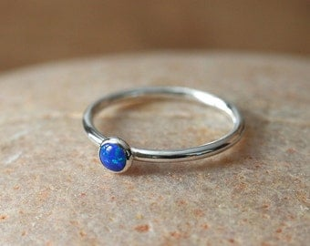 Blue Opal Stacking Ring Sterling Silver Ring, Size 2 to 15, October Birthstone, Womens Ring, Gift for Her, Simulated Opal, Womens Jewelry