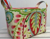 Fabric Basket Organizer Storage Container Bin Basket Diaper Caddy Decor -  Kumari Garden Teja Pink Flower Floral Fabric Dena Designs