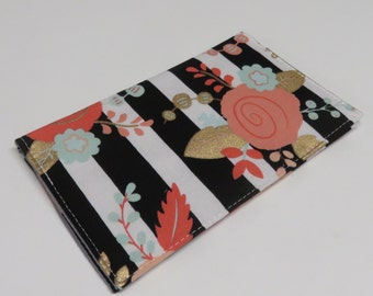 Checkbook Cover Case Cheque Coupons Money Holder - Mod Flowers on Black/ White Stripe Fabric