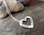 Sterling Silver Heart love live laugh charm  beaded chain necklace charm 1
