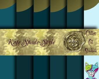 8.5 x 11 Teal gold dot journal scrapbooking digitial download design modern foil-effect original graphics