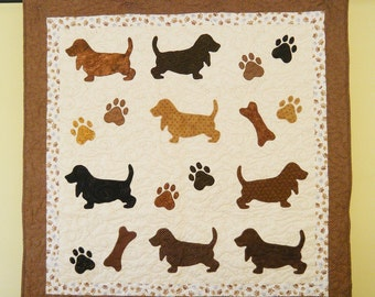 Basset Hound quilt throw -  51 x 52 inches