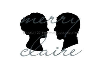 Silhouette, Custom Wedding Bride and Groom  Hand-cut Silhouette Portrait Package
