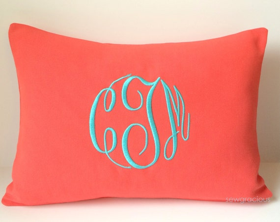 Monogram Pillow Cover 12x16. Custom Decorative Throw Pillow