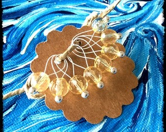 Snag Free Stitch Markers Medium Set of 8 -- Yellow Faceted Acrylic -- M45 -- For up to size US 11 (8mm) Knitting Needles