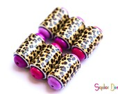Leopard and pink Barrel beads - 6 Handmade polymer clay beads - animal print barrel beads