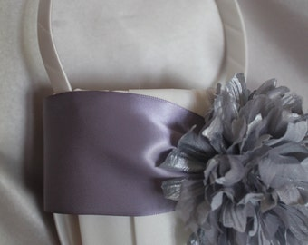 Ivory or White Satin Flower Girl Basket with Wisteria Lavender Ribbon and Silver Shimmer Flower-Age 4-7