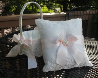 Ivory/White Flower Girl Basket/Pillow-With Delicate Embroidered Lace Blush Pink Satin Ribbon Pearl Rhinestone Bling-Custom Colors-Age 4-7