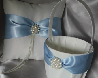 White/Ivory Satin Flower Girl Basket and Pillow with French Blue/Dusty Blue Satin Ribbon and Pearl and Rhinestones-Custom Colors